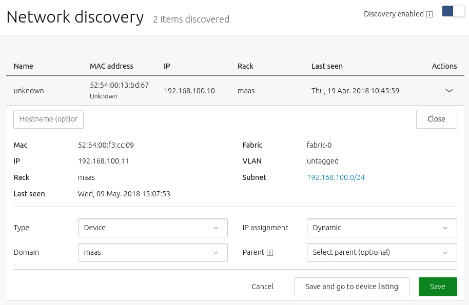 network discovery page